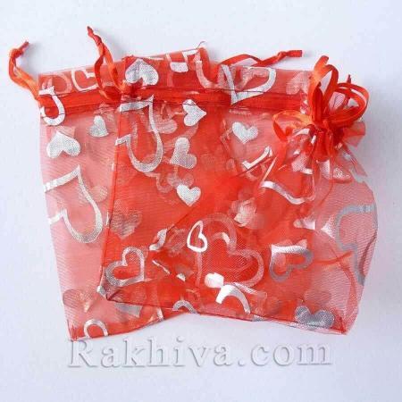 Торбички от органза червено със сребърни сърца, 10 см/12 см (10/12/8280-2) над 600 броя