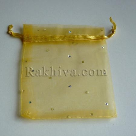 Торбички от органза злато с брокат, 10 см/12 см (10/12/82200) над 700 броя