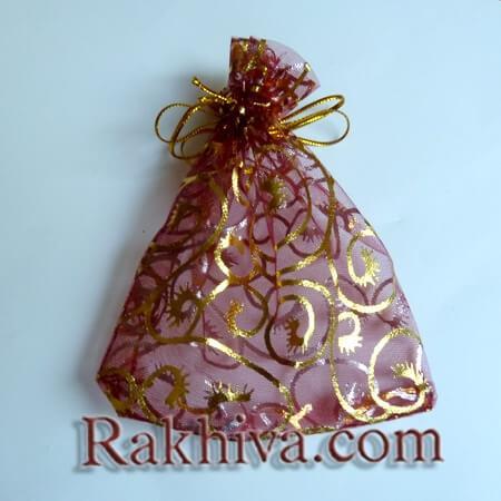 Торбички от органза бордо със златни фигури, 10 см/12 см (10/12/8286-1) над 600 броя