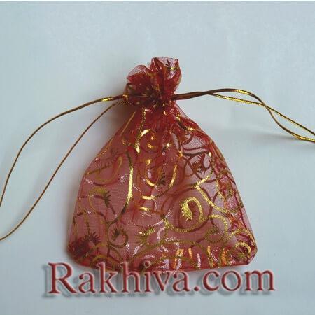 Торбички от органза червено със златни фигури, 10 см/12 см (10/12/8280-1) над 600 броя