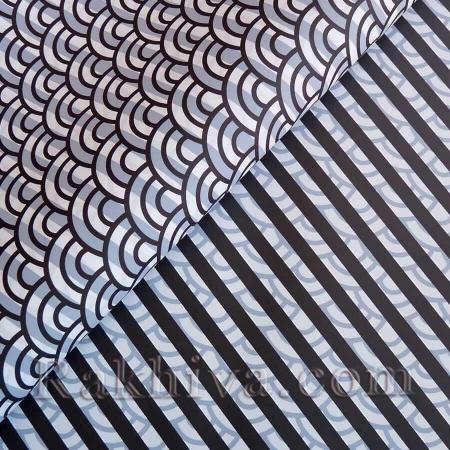 Целофан за опаковане на пакет, Диагонал черно, бяло (70/100/2620-10) над 50 листа