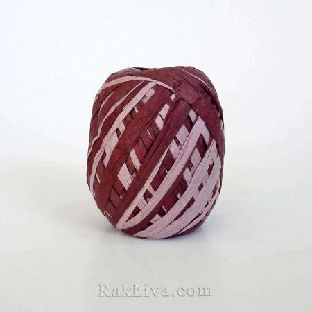 Хартиена рафия двуцветна на едро, бордо/пепел от рози (20/25/6286-49) над 24 броя