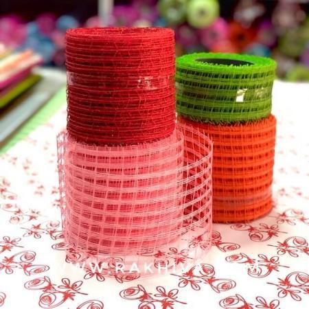 Натурална панделка мрежа  за цветя и декорация  Ракхива, 10 см червено (10/10/2580-1)