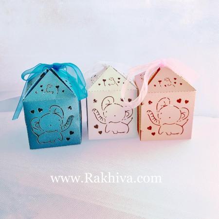 Кутийка слонче с панделка, розово 1 бр., 50x50x50 мм