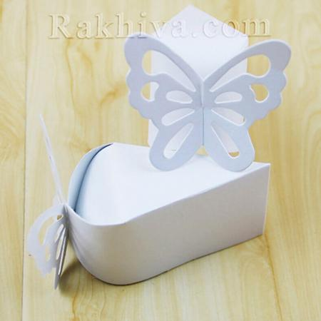 Кутийка парче от торта, бяло парченце 1 бр. , 10,5x6x6,5 см