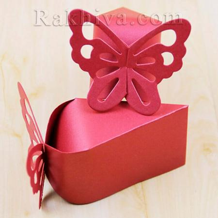 Кутийка парче от торта, бордо парченце 1 бр. , 10,5x6x6,5 см
