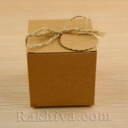 Кутийка натурална с етикет, натурална 1 бр., 50x50x50 мм