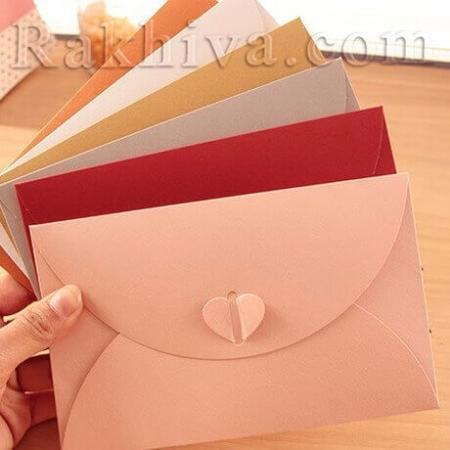 Сватбен плик със сърце/ пеперуда, пликове за пари, червено, 11 см/17 см (11/17/80)