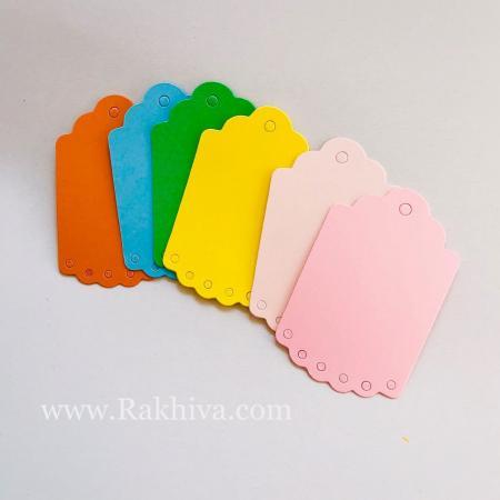 Хартиени етикети с дантела, 4,5x7 см (10 бр.) , оранжево