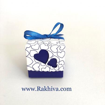 Малки кутийки за подаръчета , тъмно синьо сърце 1 бр, 50х50х50 мм