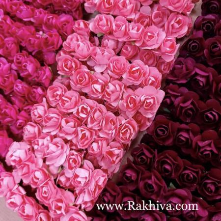 Хартиени розички - клонка, т. розово, розово, бордо, розово, 20мм /12бр. (20/12/40)