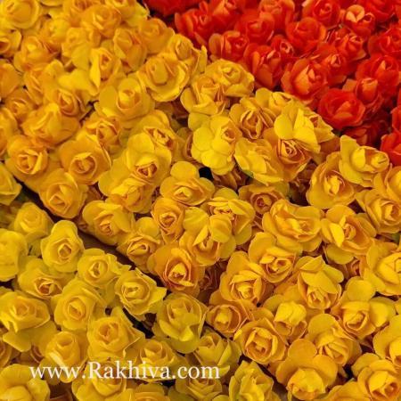 Хартиени розички - клонка, жълто, патешко жълто, огнено оранжево, жълто, 20мм /12бр. (20/12/80)