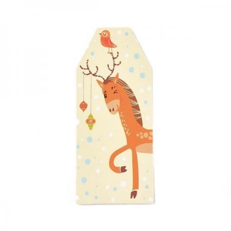 Хартиен етикет Merry Christmas, 25/60мм (еленче)