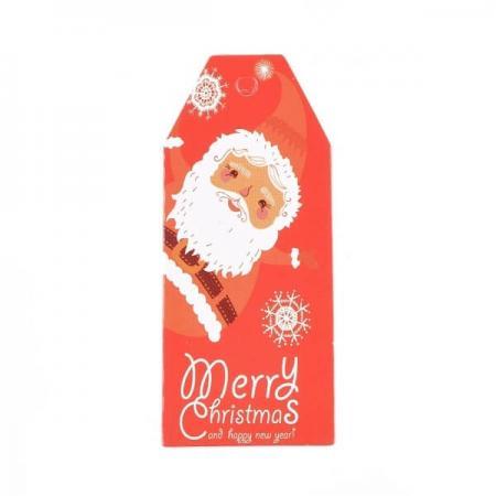 Хартиен етикет Merry Christmas, 25/60мм (червен)