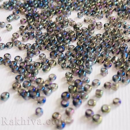 Мъниста цвят синьо (хамелион), синьо хамелион 2мм/ 50 гр.