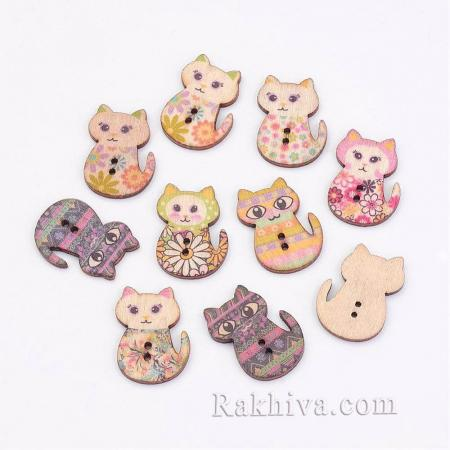 Дървени копченца Сладки котенца (микс), копченца цветя 10 бр., 29.5x21x2.5мм (BUTT-K005-32)