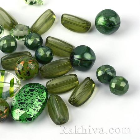 Микс елементи за бижута, зелено, МИКС зелено, 15 г (SACR-S756-16)