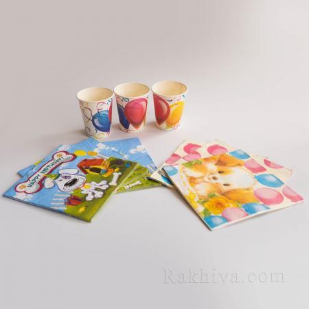 Парти комплект Кученца - чашки, салфетки, салфетки кученца 16бр. (63802)