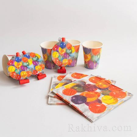 Парти комплект Балони - чашки, салфетки, надувалки (не свирят) 8бр. (64531)