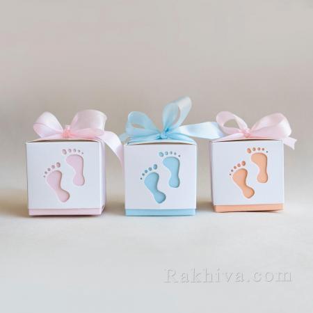 Малки кутийки за подаръчета БЕБЕ, кутийка бебе розово 1 бр, 60х60х60 мм