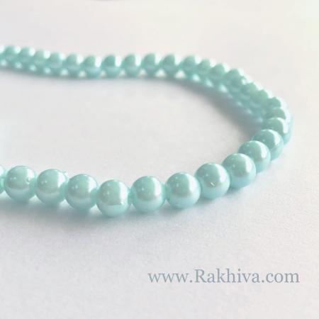 Перли (изкуствени) за изработка на бижута, за декорация - св. синьо, 1 наниз, 6мм/140бр.