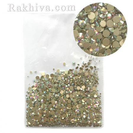 Кристали за маникюр БЕЗ лепило МИКС - различни размери злато хамелеон, Микс размери (SSMIX/1440/SS3-SS20)