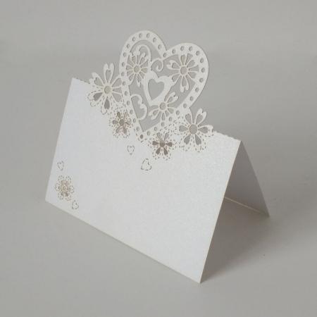 Картичка за маса сърце 3D, бяло, 9/6 см (10 бр.)