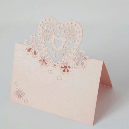 Картичка за маса сърце 3D розово, 9/6 см (10 бр.)