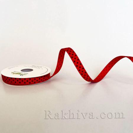 Панделка сатен - релефен сатен с точки, червено+черно, 10мм/ 10м (10/10/208/250/030) (червено, черно)