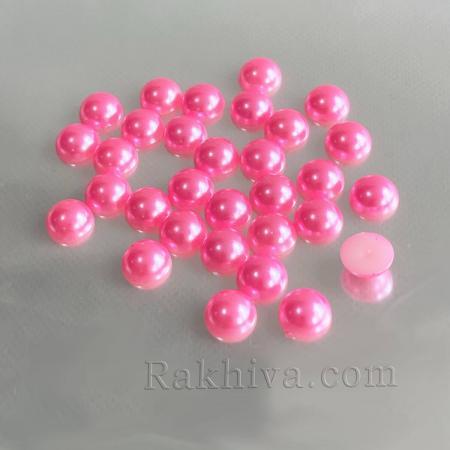 Перли полусфери за залепяне, за декорация, за украса - цвят тъмно розово, 10мм/5мм/100 бр. (VJ10)