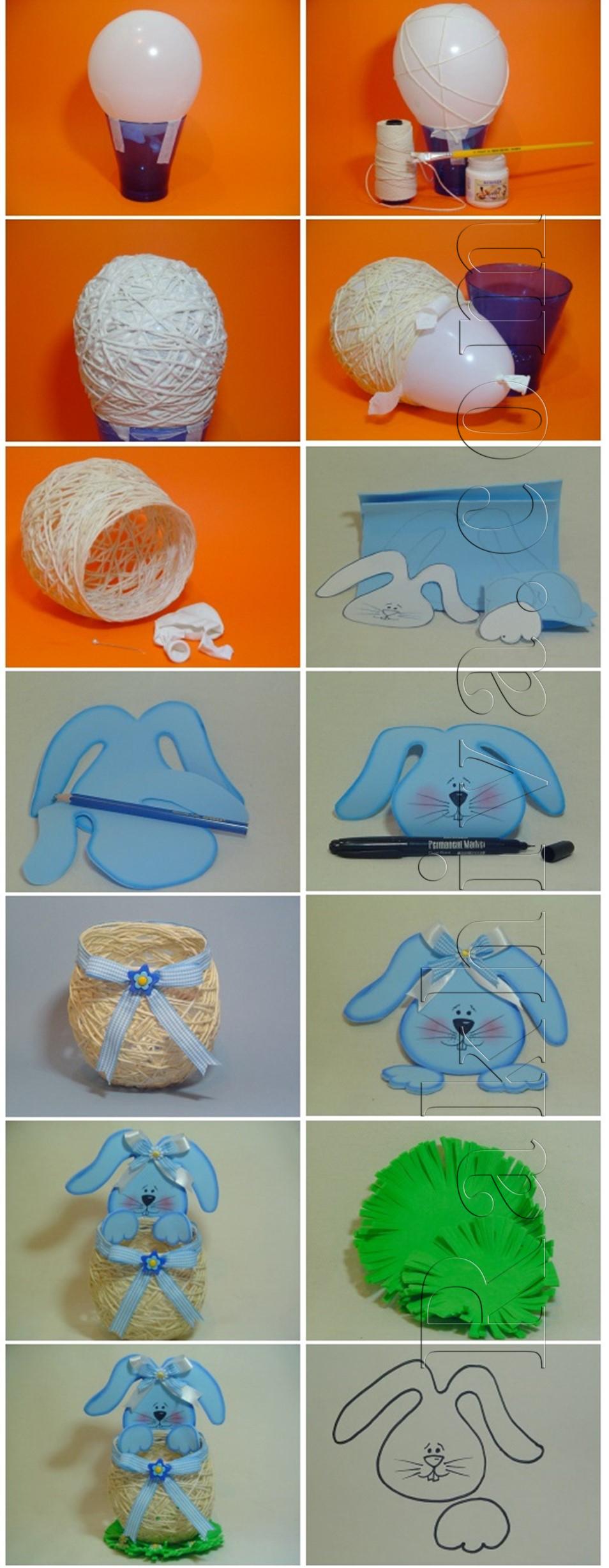 Как се прави кошничка-зайче за великденско яйце
