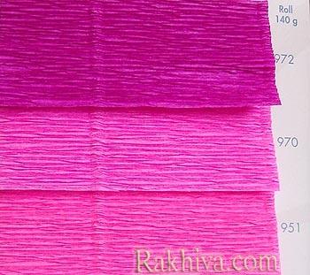 Едноцветна крепирана хартия розова